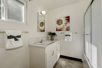 Pure white bathroom interior with old fashioned vanity