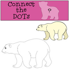 Educational game: Connect the dots. Cute polar bear smiles.