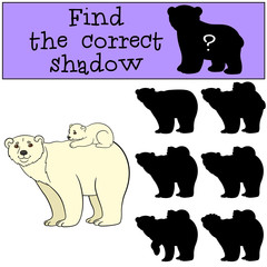 Educational game: Find correct shadow. Mother polar bear with ba