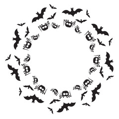 Vector illustration of a circle halloween frame. Black and white