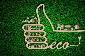 World Environment Day. let's save the world.ecology conceptgreen city concept on paper craft die cut. Eco design - Green and Sustainable vector grass blurred background .