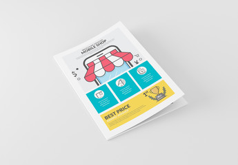 Online Shop Booklet Layout with Cartoon Style Elements