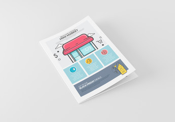 Retail Store Booklet Layout with Cartoon Style Elements