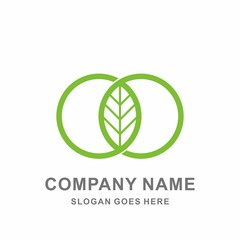 Natural Green Leaf Farm Agriculture Geometric Infinity Circle Stock Vector Logo Design Template