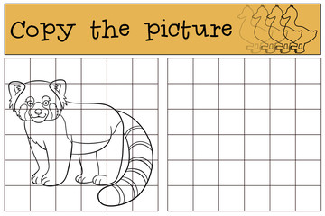 Educational game: Copy the picture. Little cute red panda smiles
