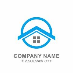 Home Shape Architecture Real Estate Geometric Circle Stock Vector Logo Design Template