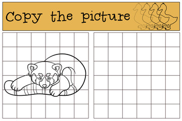 Educational game: Copy the picture. Little cute red panda.