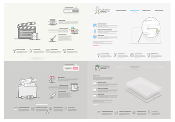 Grayscale Multimedia Website Layout with Cartoon Style Design Elements