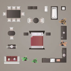 Modern furniture design elements top view image realistic vector illustration.