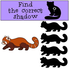 Educational game: Find the correct shadow. Little cute red panda