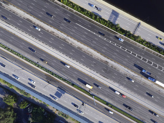 Aerial photo highways with traffic