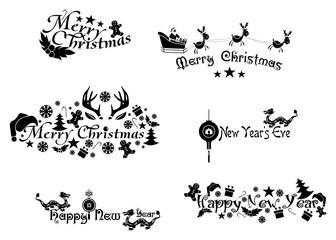 new year logos black
