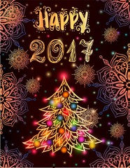 Gretting card with Christmas tree
