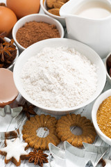 ingredients for baking, cookies and spices, vertical