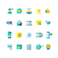 Customer service, clients loyalty, ranking, review flat vector icons set