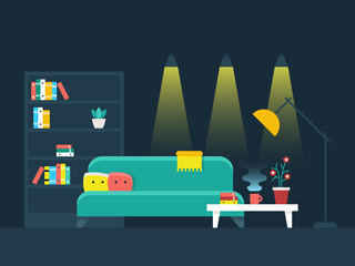 Living room interior flat vector illustration