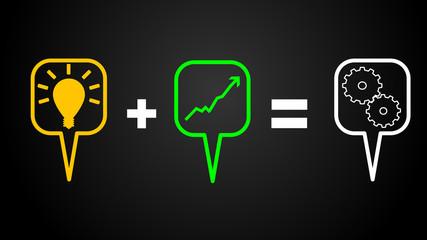 Business Sprechblasen Gleichung / Effizienz und Leistung
