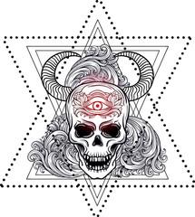 Dotwork styled skull vector art.