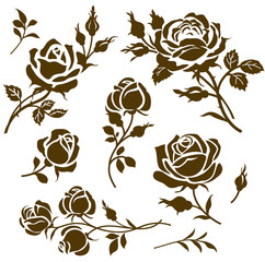 Vector flower icon. Set of decorative rose silhouettes. Vintage roses and buds