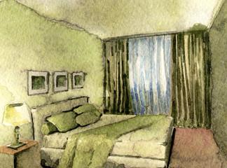 watercolor sketch of modern bedroom interior