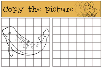 Educational game: Copy the picture. Little cute lady narwhal.