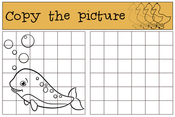 Educational game: Copy the picture. Little cute baby narwhal smi