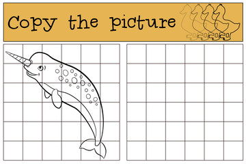 Educational game: Copy the picture. Little cute narwhal swims.