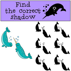 Educational game: Find the correct shadow. Two little cute narwh