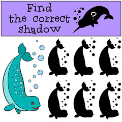 Educational game: Find the correct shadow. Little cute lady narw