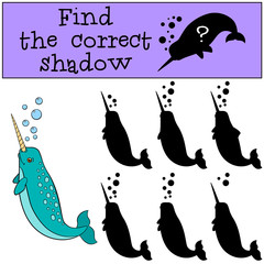 Educational game: Find the correct shadow. Little cute narwhale