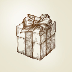 Gift. Box with bow. Vintage sketch vector