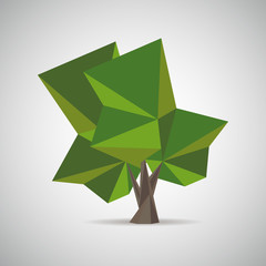 Polygonal tree. Low poly style. Element design for banner, poster, card, flyer, cover, brochure. Icon, logo design. Abstract vector Illustration