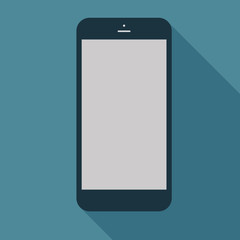 Smartphone icon in flat design on the blue background. Vector il