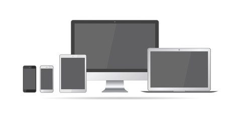 Set of realistic computer monitors, laptops, tablets and mobile