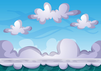 cartoon vector sky background with separated layers for game art and animation game design asset in 2d graphic