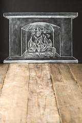 mit Kreide gezeichnetes Kaminfeuer