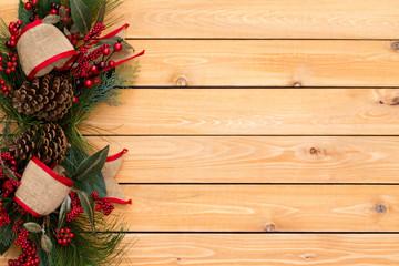 Rustic festive Christmas border with burlap bows