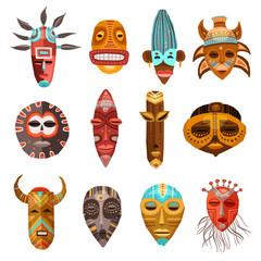 African Ethnic Tribal Masks Set