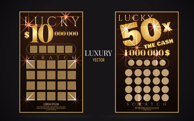 scratch lottery ticket vector design template