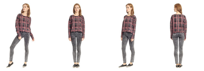Skinny brunette fashion model in tartan pullover isolated on whi