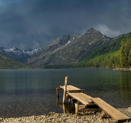 Multinskoe lake before thunderstorm in the Altai mountains, Russia