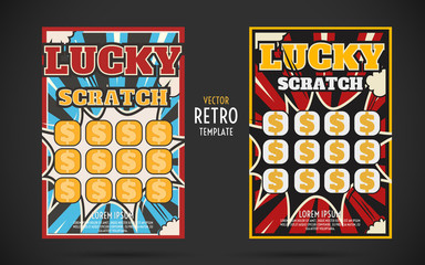 scratch off lottery ticket vector design template