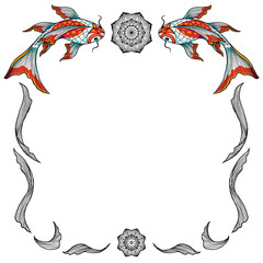 Decorative vector frame made of hand drawn elements and koi fishes, isolated on white background