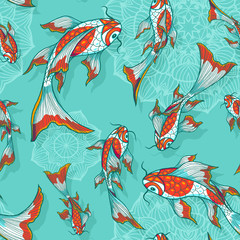 Seamless vector light blue background with hand drawn koi fishes, pattern for textile or wrap paper