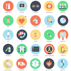 Flat conceptual icons healthcare and medicine