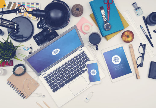 Responsive Mockup of Devices on a Messy Desk