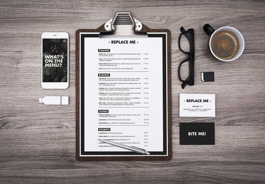 Menu Mockup on Table with Devices and Coffee Cup