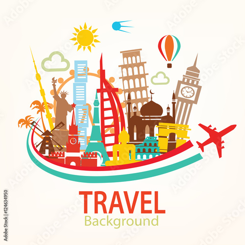 """world travel, landmarks silhouettes icons set"" Stock ..."