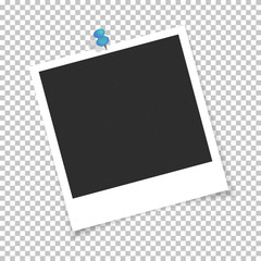 Photo frame isolated on square background and pinned push button. Vector Illustration