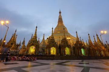 Shwedagon Paya pagoda Myanmer famous sacred place and tourist attraction landmark,Yangon, Myanmar